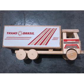 Caminhão De Madeira Transbrasil Artesanal