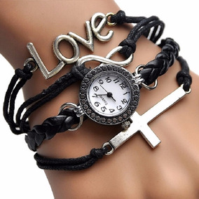 Reloj Brazalete Mujer Piel Cristal Gamuza Mayoreo Cruz Love