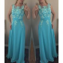 Vestido Longo De Festa Madrinha Formatura Azul Claro Bordado