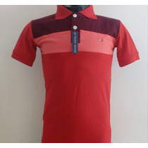 Camisa Playera Tipo Polo Tommy Color Rojo Vino Salmon Hombre