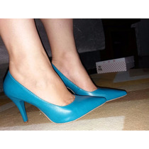 Sapato Feminino Scarpin Azul Turquesa Salto 8,5 Cm Nº35