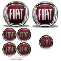 Kit Emblemas Fiat Vermelho Palio Grade Mala Calotas E Chave