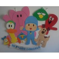 Cartel Cumpleaños - Pocoyo Y Amigos - Goma Eva 1 M X 80 Cm
