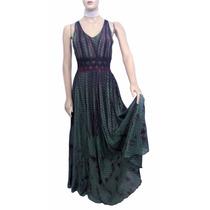 Vestido De Musseline Verde Escuro Com Renda Na Cintura