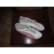 Zapatillas Mujer Cuero Blancas Con Logo Fucsia Nº 37.5 Fotos