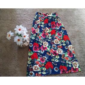 Saia Longa Colorida Floral 95cm Comprimento