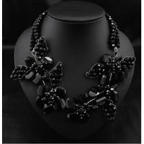 Gargantilla De Lujo Con Flores Cristalinas En Color Negro