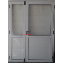 Puerta De Aluminio Doble 1,50 X 2,00 1/2 Vidrio Entero
