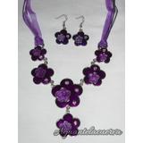 Colgante Tul E Hilo Encerado Dije + Aros Color Violeta