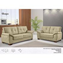 Conjunto Sofa 2x3 Lugares Veneza Tecido Corino