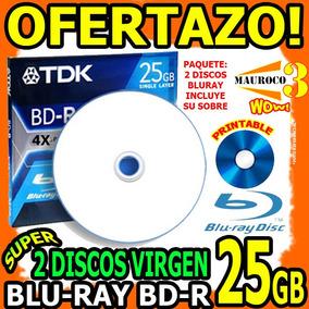 Wow 2 Discos Virgen Bluray 25gb Inkjet Printable 6x En Sobre