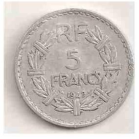 Ml-2520 Moeda França ( 5 Francs ) Alumínio 30mm 1949