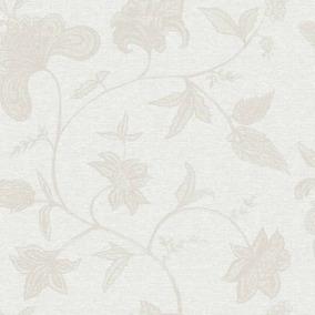 Papel De Parede Bobinex Natural 1400 Floral Cinza Rolo 10m