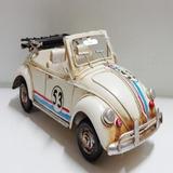 Mini Metal Rustico Retro Volks Fusca Vintage Branco Herbie