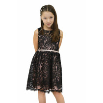 Vestido De Nena Tela Importada Fiesta Cortejo Brishka N-0078