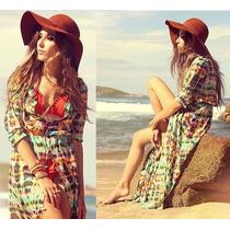 Saída De Praia Longa Camisa Chiffon Vestido Maxidress