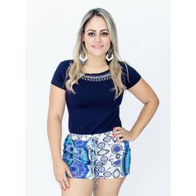 Blusa Com Pedras + Shorts Estampado Roupas Femininas Da Moda