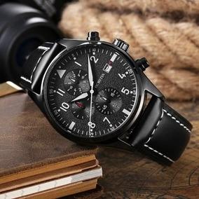 Reloj Elegante De Piel Estilo Piloto Cronometro Casual