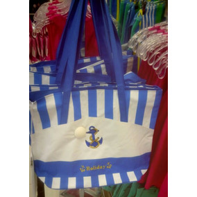 Bolso Playero Azul Con Blanco Y Rosado Y Blanco Para Damas