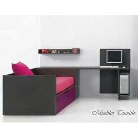 Dormitorio Juvenil Cama+escritoio+repisa Muebles Tuestilo