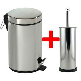 Kit Lixeira Inox 5 Litros Pedal + Escova Sanitária Banheiro