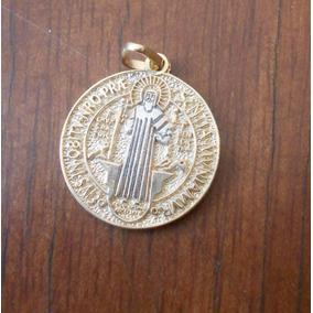 Medalla De San Benito Dos Oros Oro 10k