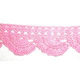 Puntilla Antigua De Hilo Rosa Tejida Al Crochet