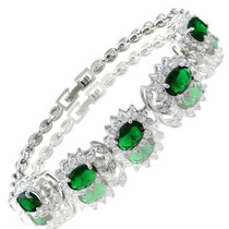 Pulsera Oro Blanco 18 K Gp Cristales Verde Jade Envío Gratis