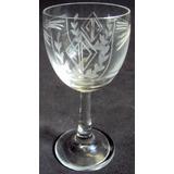 Taça De Vinho Cristal Art Nouveau Lapidado Folhas Em Ácido