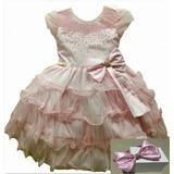 Vestido Infantil Luxo Minnie Rosa E Backardigans Com Tiara