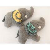 Mini Elefante De Tela Y Crochet Múñeco Bebes Ajuar