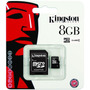 Memoria Micro Sdhc 8gb Kingston Clase 4 + Adaptador Sd