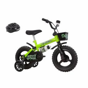 Bicicleta Infantil Aro 12 Kit Kat Track Bike Capacete Neon