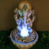 Fonte Água Cascata Ganesha Com Esfera Giratória E Luz Led