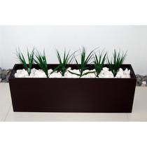 Jardinera Decorativa Minimalista Incluye Piedras Y Plantas