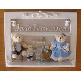 Porta Maternidade Família Urso Bebê Com Irmão / Irmã Quadro