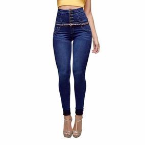 Jeans Costillero Con Cinturón Cintura Alta Seven Eleven *