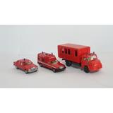 3 Unidades Bombeiros Carro + Caminhão+ Furgão Ho 1:87