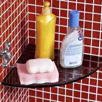 Prateleira Raque Cor Fume Shampoo De Canto De Vidro 21x21cm