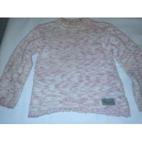 Sweter De Lana Tejido Rip Curl Talle 6-8 Años Rosa Jaspeado