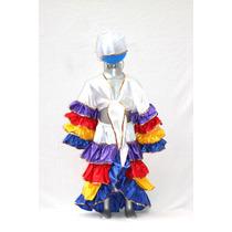 Disfraz De Rumbera Rumbero De Satin Colores Cuba Brasil