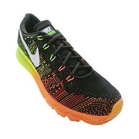 Tênis Nike Flyknit Air Max Preto, Verde E Laranja -