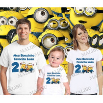 Kit Camisetas Personalizada Aniversario Minions Minios