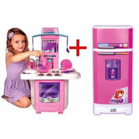 Kit Cozinha Infantil Geladeira Magica Super + Fogão Big