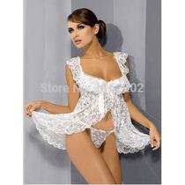 Baby Doll Blanco Encaje + Colaless, Sexy Erotico
