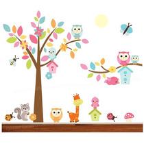 Adesivo Zoo Infantil Safari Decorativo Papel Parede Corujas
