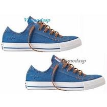 Tênis All Star Sneaker Azul Jeans Vermelho Rasgado Sem Salto