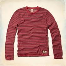 Hollister Camiseta Manga Comprida Masc Tamanho Gg Vermelha