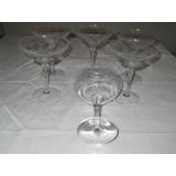 Juego De 6 Copas De Champagne-cristal Grabado A Mano