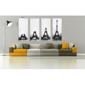 Torre Eiffel 4 Bastidores En Lienzo 50x120 Envio Sin Cargo